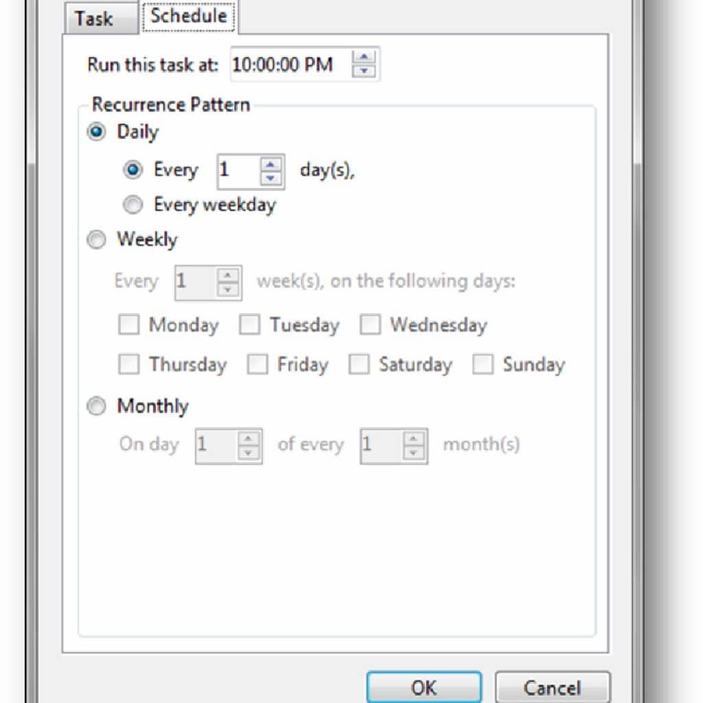 Schedule file erase